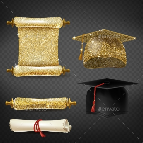 Vector Set with Graduation Caps and Diplomas - Objects Vectors