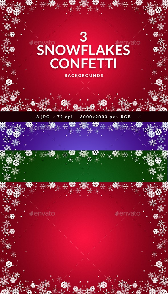 3 Snowflakes Confetti Backgrounds - Backgrounds Graphics