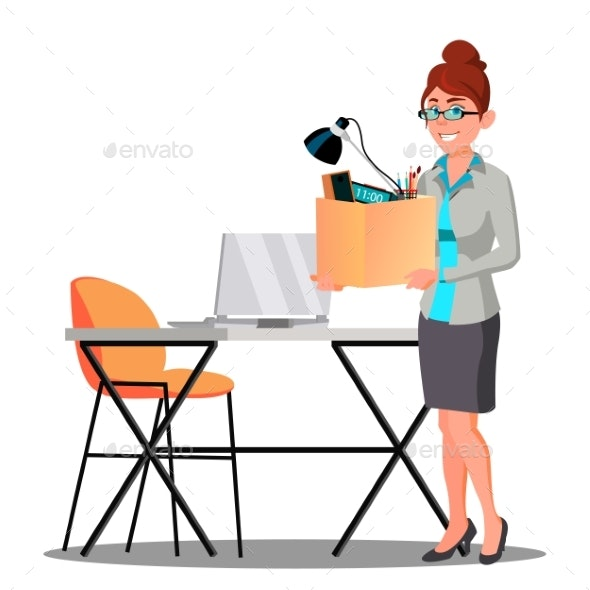 Happy Woman With Box With Things Near Table - Business Conceptual