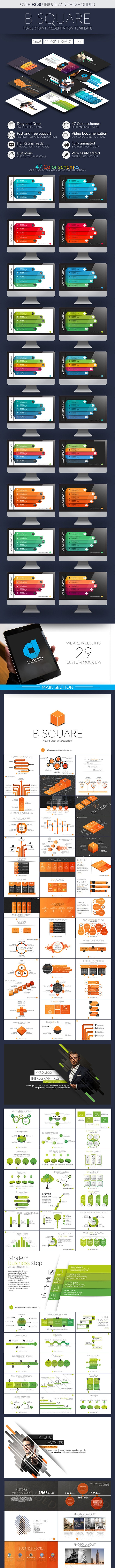 B Square Powerpoint Presentation Template - Business PowerPoint Templates