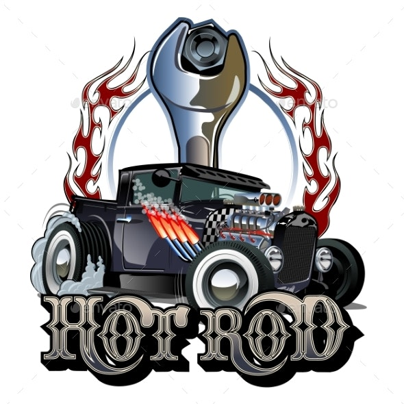 Cartoon Retro Hot Rod with Vintage Lettering - Man-made Objects Objects