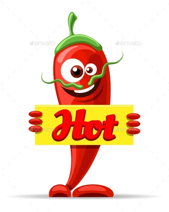 Mexican Pepper Cartoon Character - Food Objects