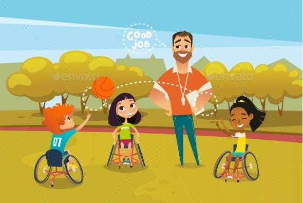 Adaptive Sports for Children - People Characters