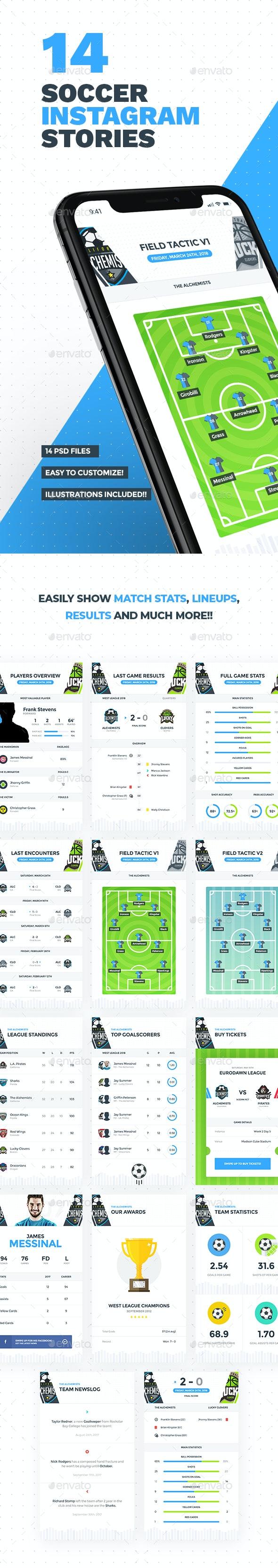 14 Soccer - Football Instagram Stories - Social Media Web Elements