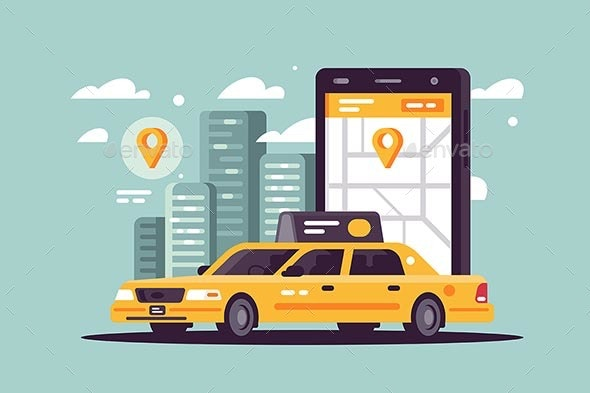 Modern Taxi Call Using Smartphone and Online - Man-made Objects Objects