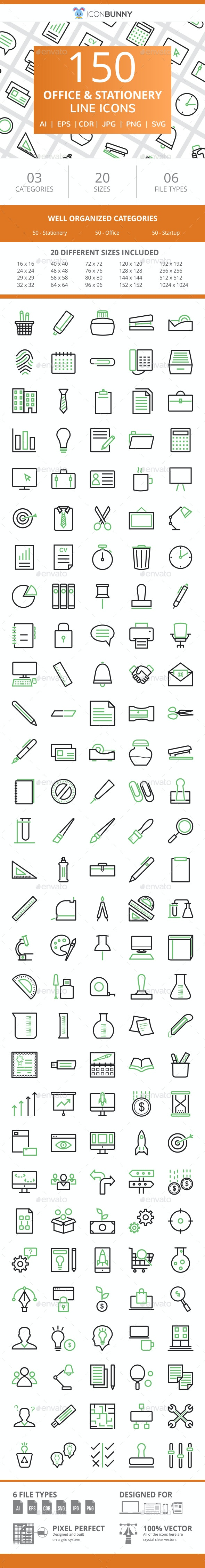 150 Office & Stationery Line Green & Black Icons - Icons