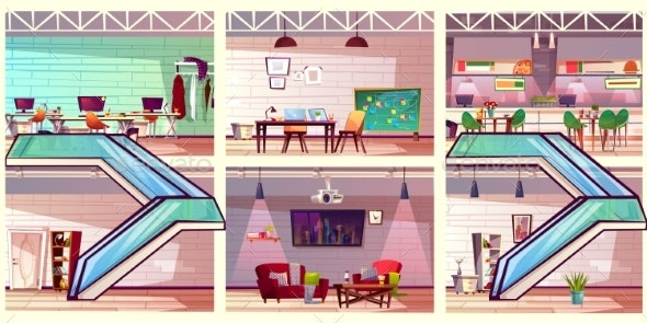 Modern Co Working Office Interiors Cartoon Vector - Buildings Objects