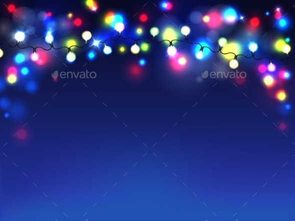 Vector Garlands on Blue Background Diffused Lights - Backgrounds Decorative