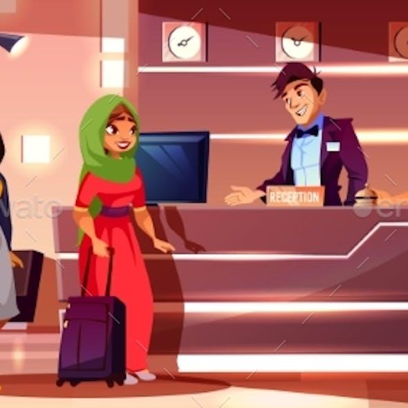 Guests Registering in Hotel Cartoon Vector