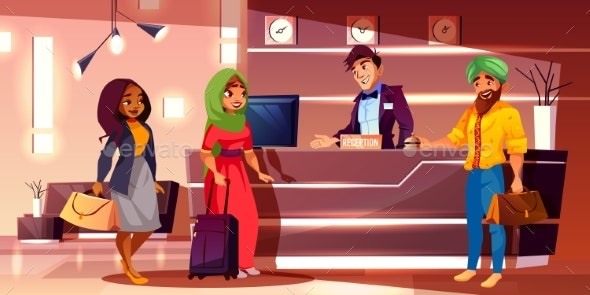 Guests Registering in Hotel Cartoon Vector - People Characters
