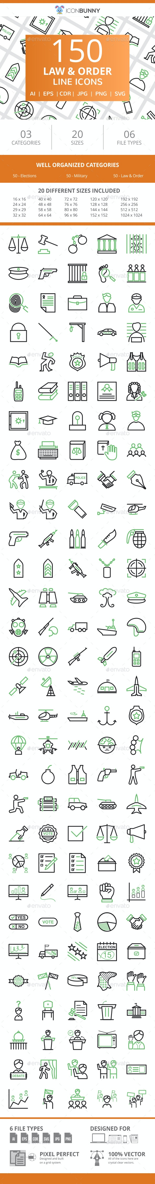 150 Law & Order Line Green & Black Icons - Icons