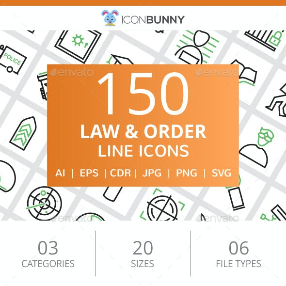 150 Law & Order Line Green & Black Icons