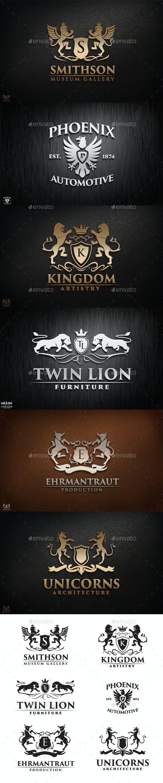 Royal Heraldic Logo Set - Animals Characters