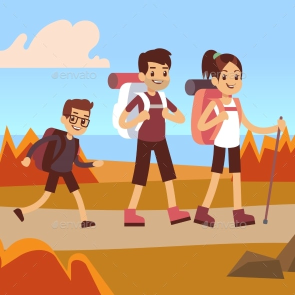 Happy Family Hikers. Dad, Mom and Son Trekking - Miscellaneous Vectors