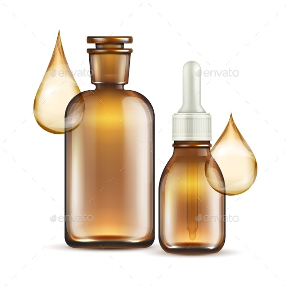 Realistic Brown Glass Bottles for Oil Cosmetics - Miscellaneous Vectors