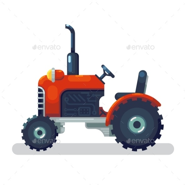 Flat Red Tractor in a Flat Style Isolated - Man-made Objects Objects