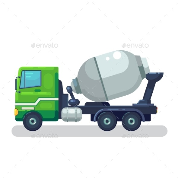 Concrete Mixing Truck Vector - Man-made Objects Objects