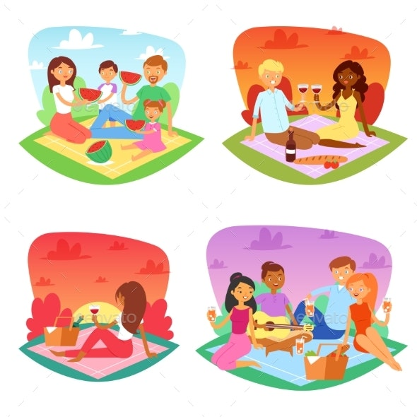 Picnic Vector People Happy Family Friends Lovely - People Characters