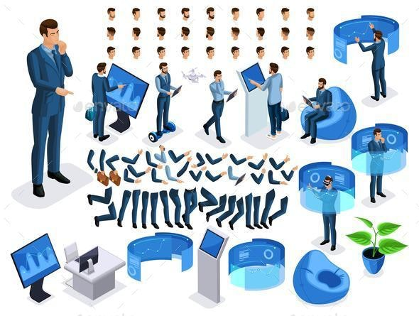 Isometric Set Business Men with Gadgets - Concepts Business
