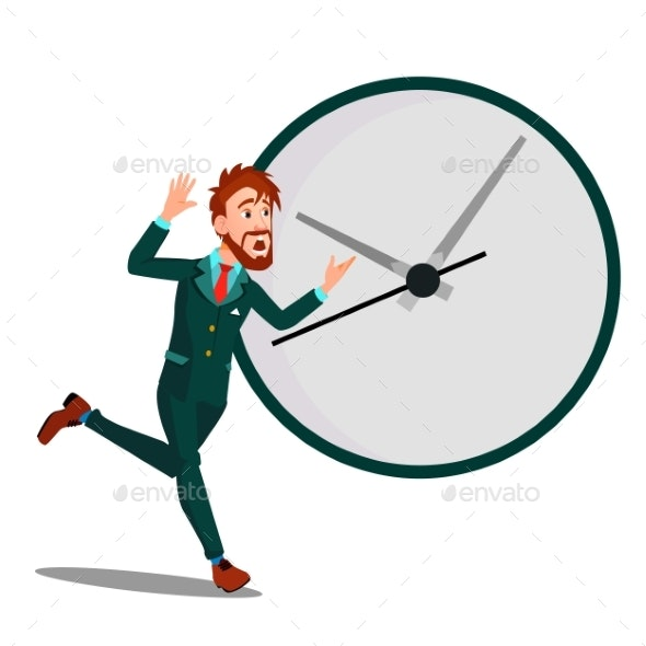 Running Businessman With Huge Clock, Time - Business Conceptual