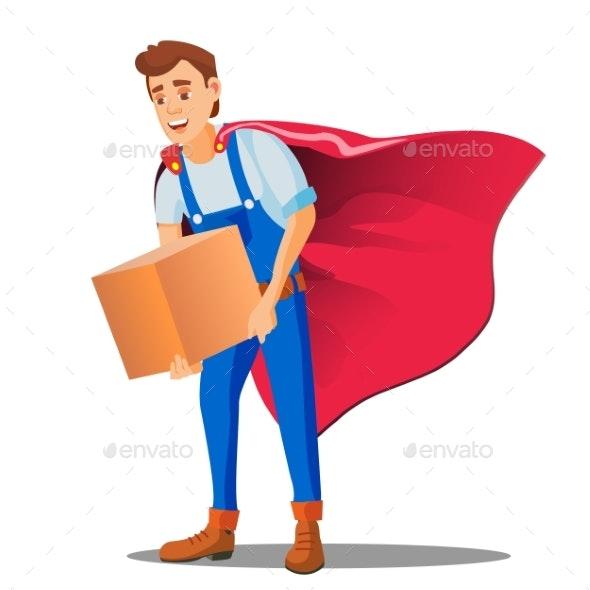 Delivery Service, Man In Superhero Uniform - Business Conceptual