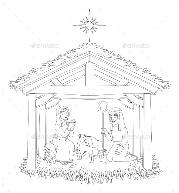 Christmas Nativity Scene Cartoon Coloring - Religion Conceptual
