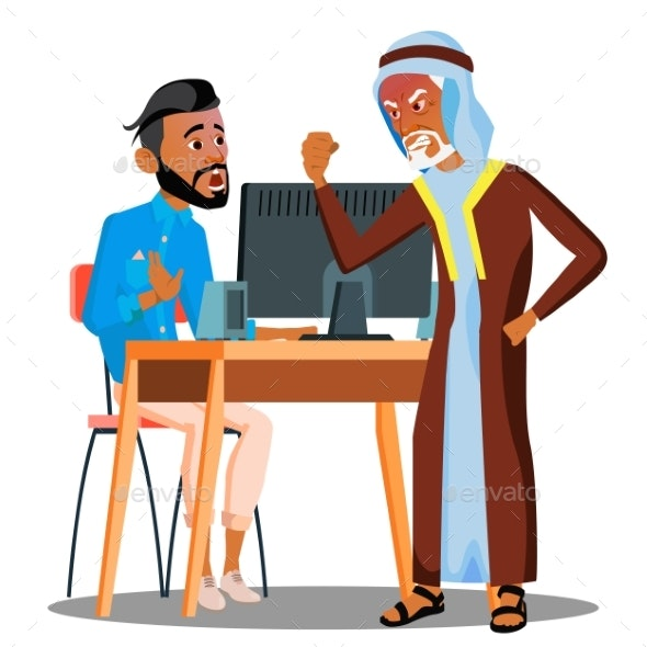 Arab Boss Screaming At Scared Empolyee Vector - Business Conceptual