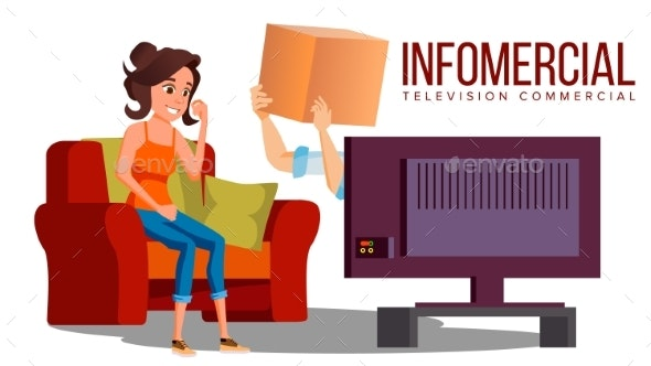 Infomercial, Shop On The Sofa, Woman Sitting - Business Conceptual