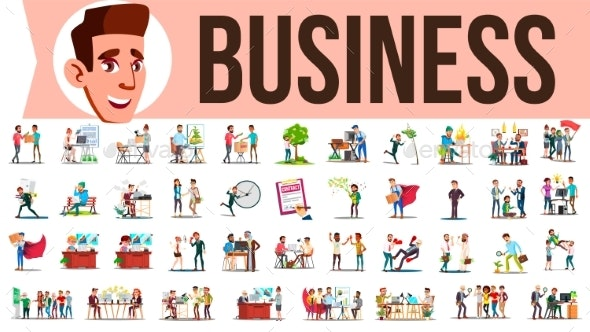 Business People Set Vector. Meeting, Talking - Business Conceptual