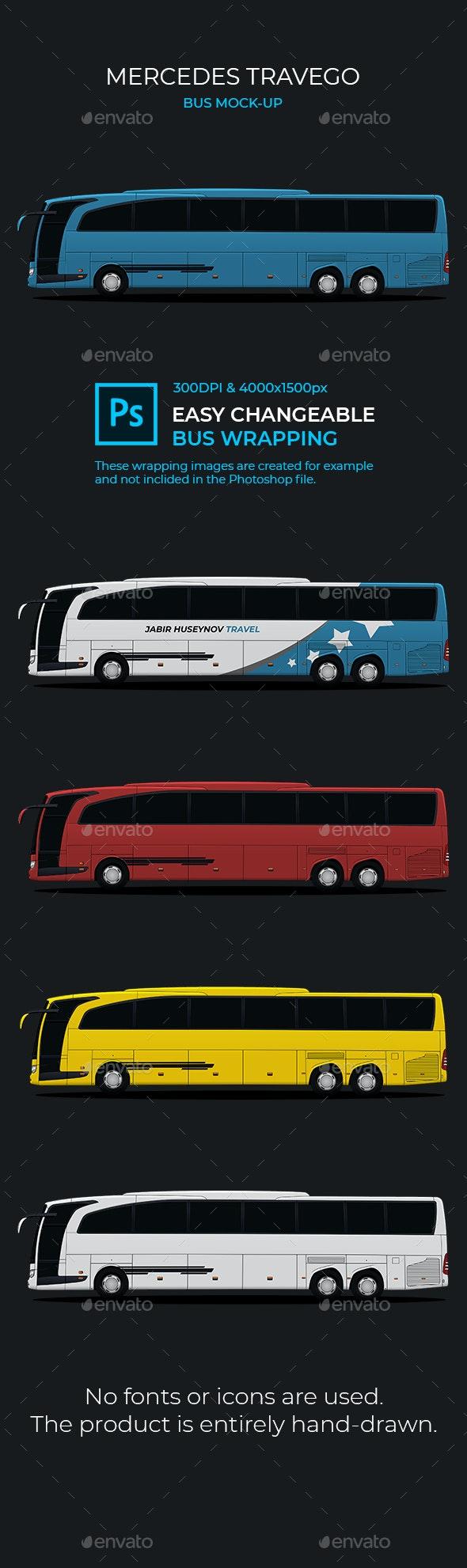 Mercedes Travego Bus Mock-Up - Vehicle Wraps Print