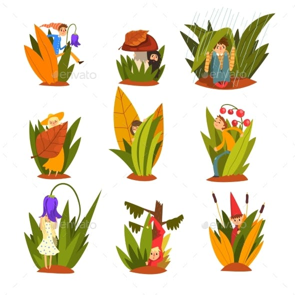 Little People in Tall Grass Set