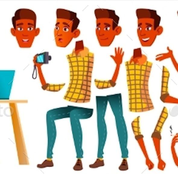 Teen Boy Vector. Animation Creation Set. Indian