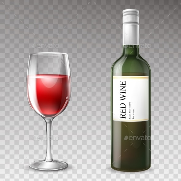 Vector 3d Realistic Wine Bottle with Wineglass - Food Objects