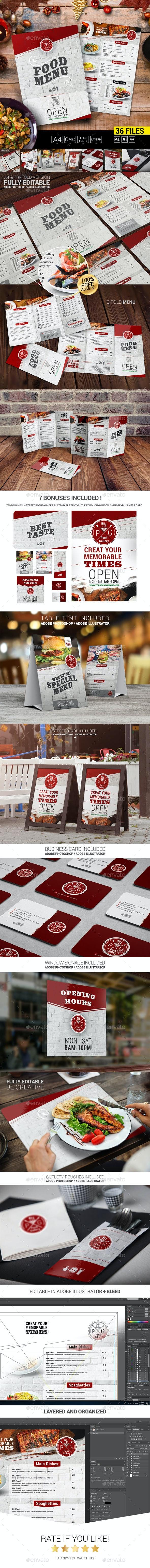 Food Menu + 7 Bonuses - Food Menus Print Templates