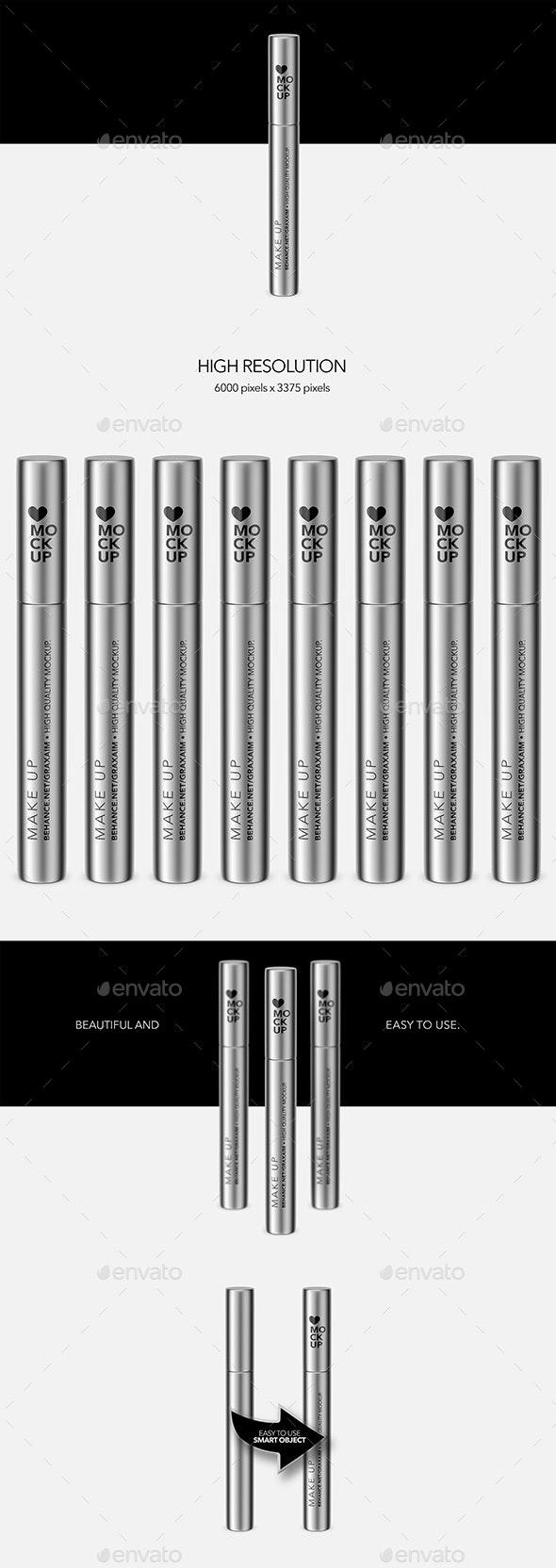Cosmetics Mockup - Lipstick / Mascara / Eyeliner - Metallic - Beauty Packaging