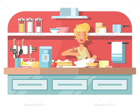 Housewife Cooking Food on Kitchen - People Characters