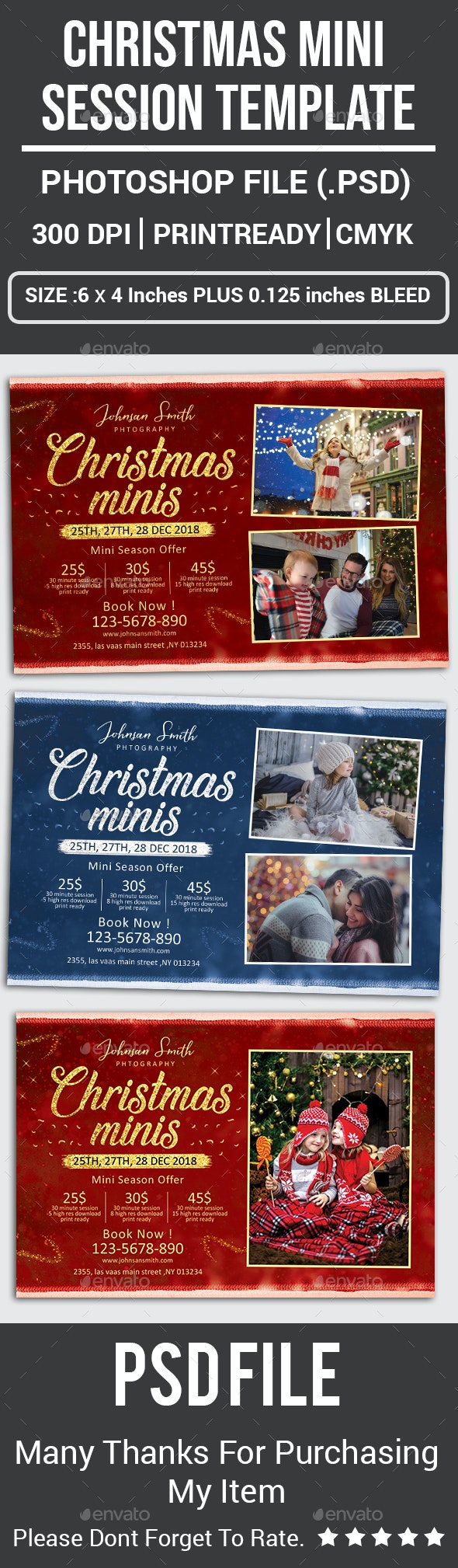 Christmas Mini Session Template - Cards & Invites Print Templates