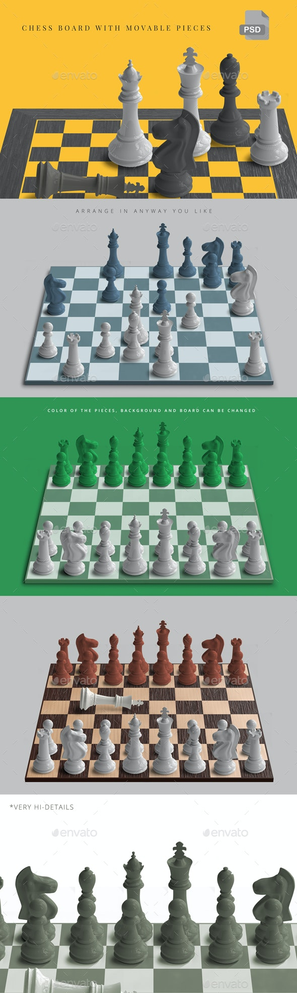 Movable Chess Pieces / Chess Mockup - Miscellaneous Product Mock-Ups