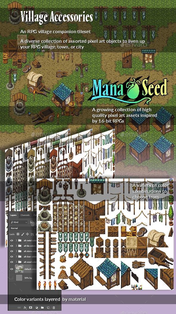 Village Accessories - Pixel Art Tileset