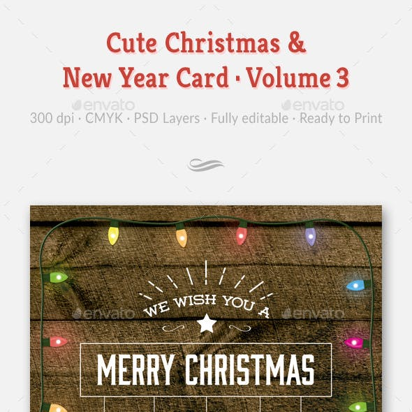 Cute Christmas and New Year Card - Volume 03
