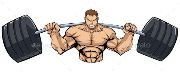 Bodybuilder Gym Mascot Grit - Sports/Activity Conceptual