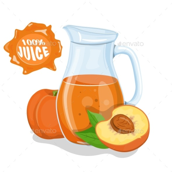 Glass Jug with Natural Peach Juice - Food Objects