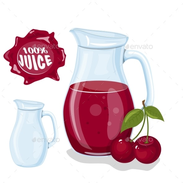 Glass Jug with Natural Cherry Juice - Food Objects