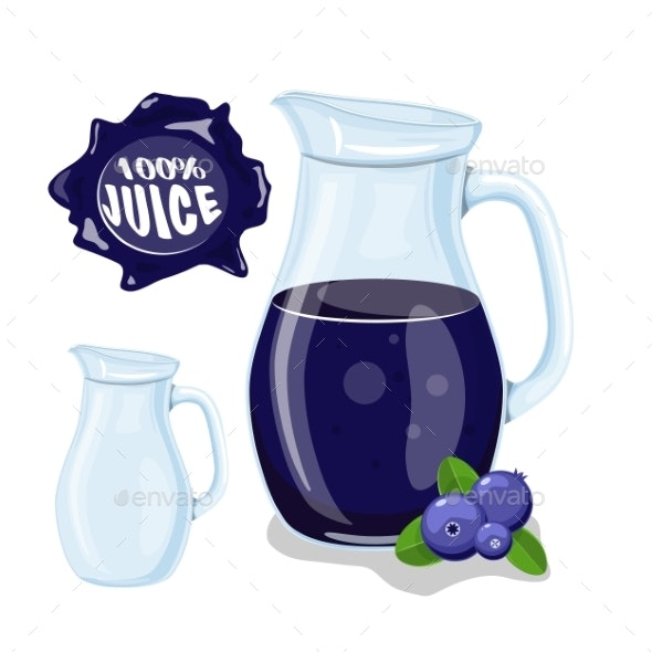 Glass Jug with Natural Blueberry Juice - Food Objects