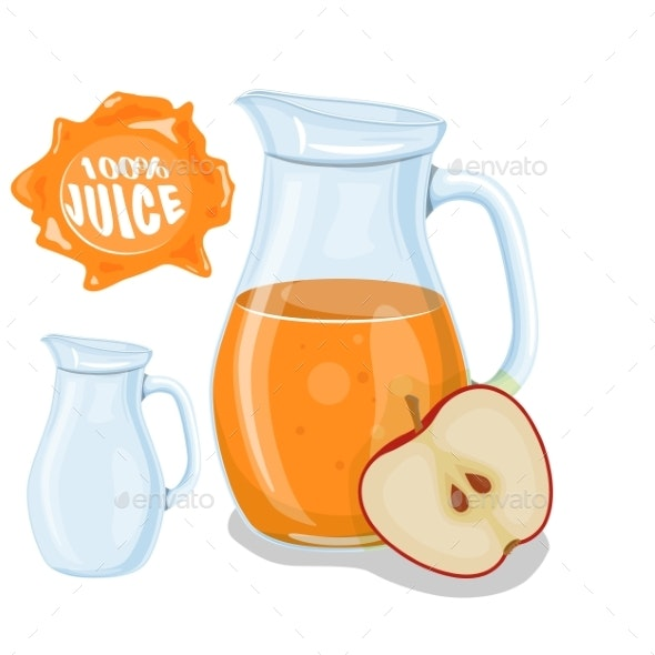 Glass Jug with Natural Juice - Food Objects