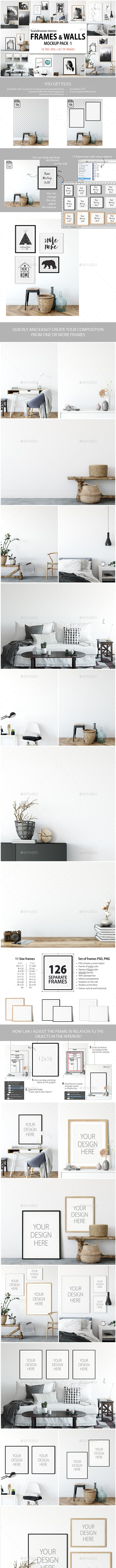 Scandinavian Interior Frames & Walls Mockup Pack -1 - Product Mock-Ups Graphics