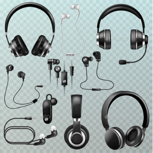 Headphones Vector Headset and Earphones Stereo - Man-made Objects Objects