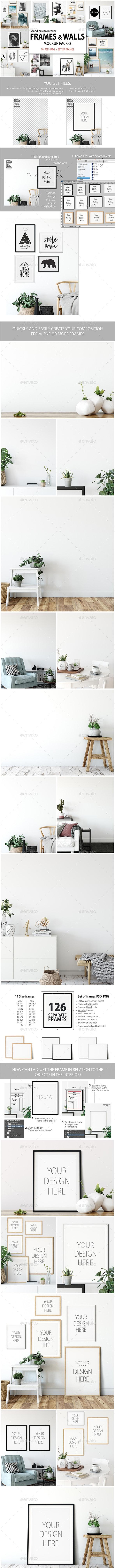 Scandinavian Interior Frames & Walls Mockup Pack - 2 - Product Mock-Ups Graphics