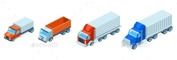 Vector Isometric Trucks - Man-made Objects Objects