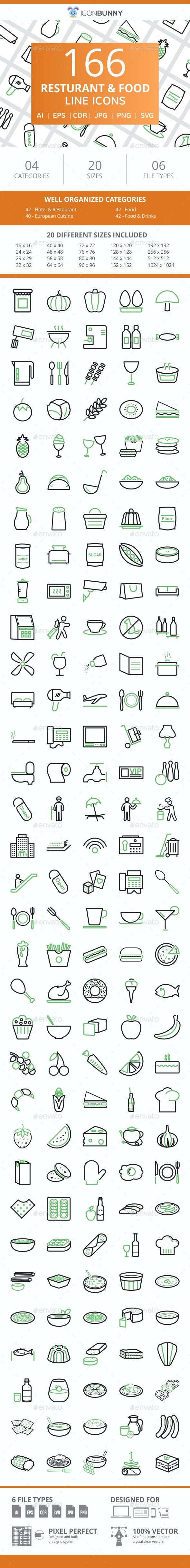 166 Restaurant & Food Line Green & Black Icons - Icons